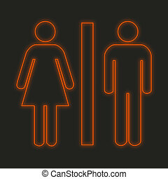 Neon Icon Isolated on a Black Background - Toilet
