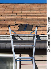 Blown Out Roof Shingles Repair - A ladder set up to repair...