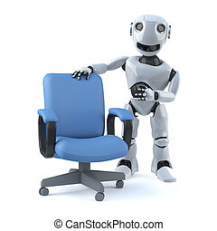 3d Robot has an empty office chair - 3d render of a robot...