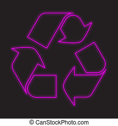 Neon Icon Isolated on a Black Background - Recycle