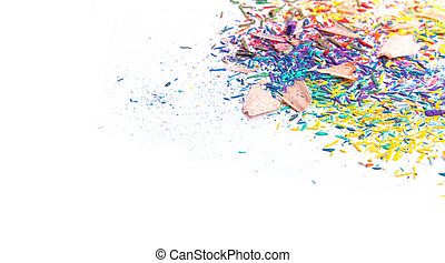 Colored pencil sharpened on white background