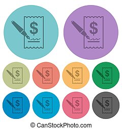 Color cheque signing flat icons - Color cheque signing flat...