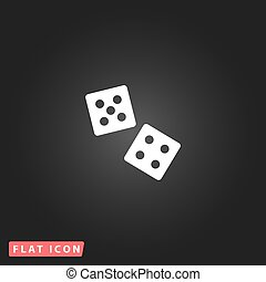 dice flat icon - Dice White flat simple vector icon on black...