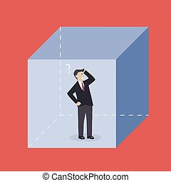 Businessman in the box Business metaphor