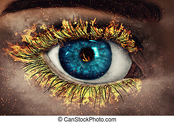 Eye in Flames - illustration of an painted eye with its...
