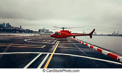 Red Helicopter - Helicopter used for sightseeing tours...