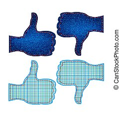 like icon - vector set of hands with a raised thumb