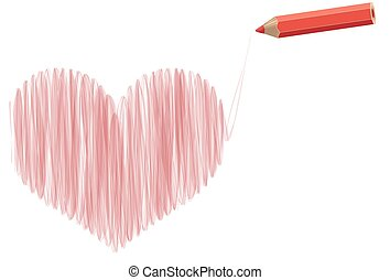 painted heart - Vector stylized heart pencil drawing with...