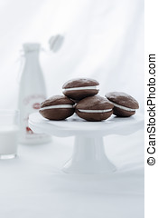 Whoopie pies on cake stand