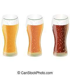 beer - vector set of three glasses of beer or other beverage