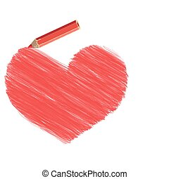 heart pencil - Vector stylized heart pencil drawing and a...