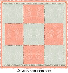 mat - vintage checkered rug in gray and pink cell