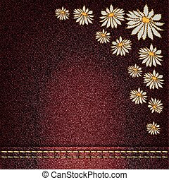 flowers sewn - vector denim background with flowers sewn