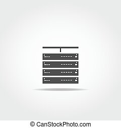 Computer server icon - Server connected to internet. Simple...