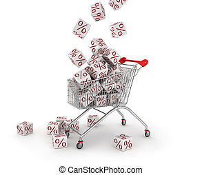 Discount concept Shopping trolley and white cubes with...