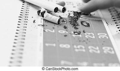 A concept of stop smoking; cigarettes on a calendar.