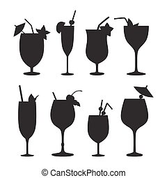 Cocktail vector silhouettes. Black icons isolated on white...