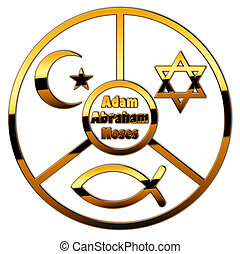 3 faiths - Symbols of Judaism, Islam and Christianity in a...