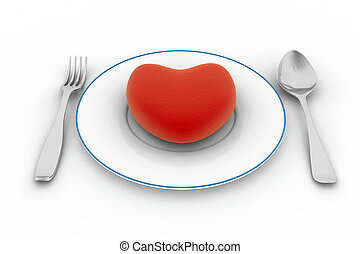 Heart on plate isolated on white background