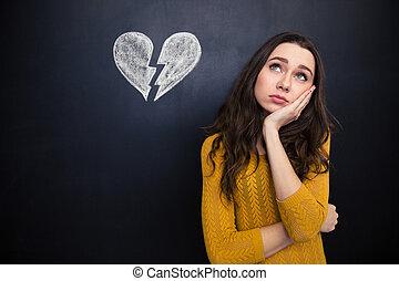 corazón, mujer, pensamiento, encima, trastorno, roto,...