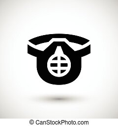 Protective respirator icon isolated on grey Vector...