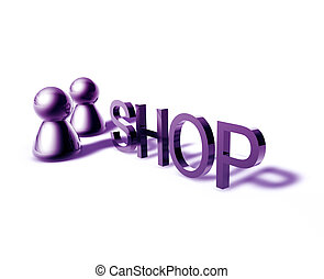 Shop word graphic - Shop online word graphic, with stylized...
