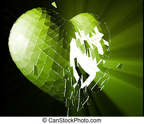 Broken heart illustration - Broken shattered heart lost love...