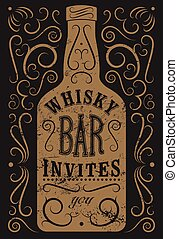 Typographic retro grunge design Whiskey Bar poster Vintage...