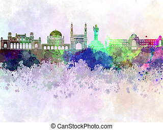 Hyderabad skyline in watercolor background