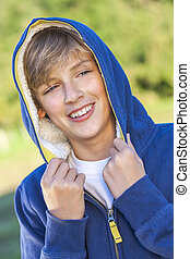 Happy Boy Male Child Teenager Laughing Wearing Hoody