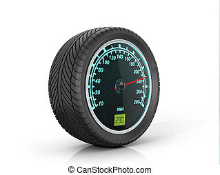 Speedometer in car wheel on a white background.