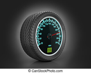 Speedometer in car wheel on a black background.