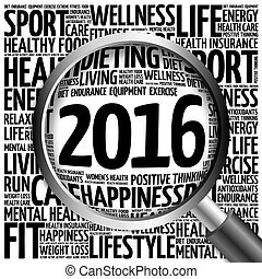 2016 health and sport goals word cloud with magnifying...