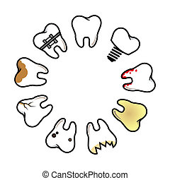 dental disease - vector set of pathological teeth in a...