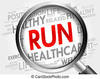 RUN word cloud with magnifying glass, health concept