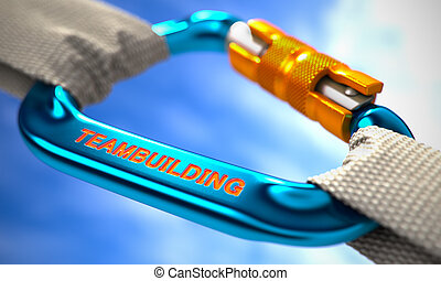 Blue Carabiner Hook with Text Teambuilding. - White Ropes...