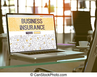 Business Insurance Concept on Laptop Screen. - Business...