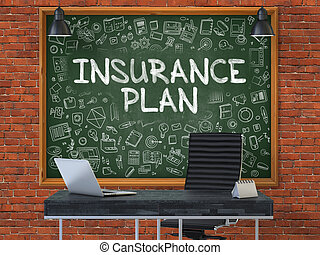 Insurance Plan Concept Doodle Icons on Chalkboard -...