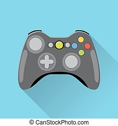 Video game Controller Icon. wireless grey gamepad. vector...