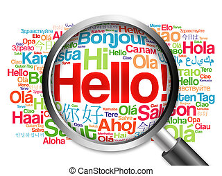 Hello word cloud in different languages of the world with...