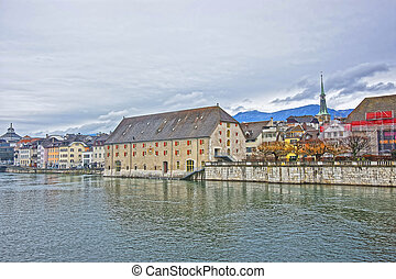 Waterfront and Clock Tower with Landhaus in Solothurn in Switzerland