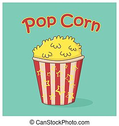 Pop corn icon on green background with words