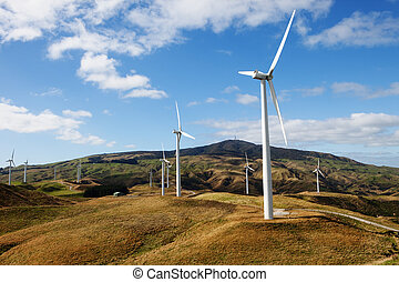 Wind Turbines - Row of wind Turbines in country side XXXL...
