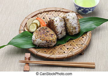 grilled rice balls, japanese food