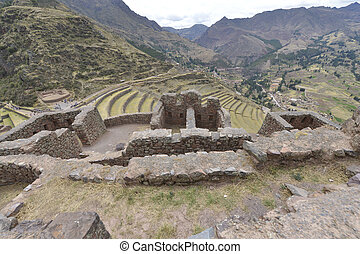 Pisac, Sacred Valley, Peru - Incas ruins in Pisac village,...
