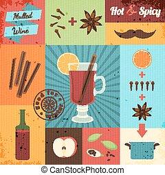Mulled Wine Design Set Vector illustration, eps10