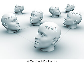 Team concept - Human heads with conceptual words - 3d render...