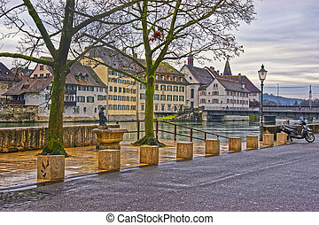 Embankment of the Aare river in Solothurn in Switzerland