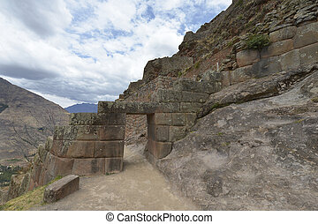 Pisac, Sacred Valley, Peru - Inca's ruins in Pisac village,...