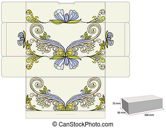 Template for box with decorative ornament